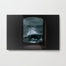 Wave out of a window of a ship – Minimalist Oceanscape Metal Print