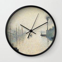 Camille Pissarro - L'Île Lacroix, Rouen (The Effect of Fog) Wall Clock