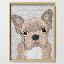 Beige Frenchie Puppy 001 Serving Tray