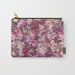 Vintage Bird Cage Flower Pattern Retro Illustration Carry-All Pouch