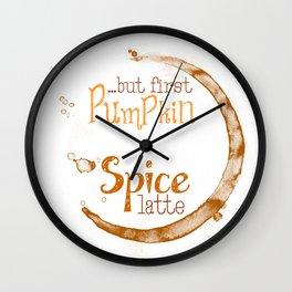 But First Pumpkin Spice Latte - Coffee Ring Wall Clock