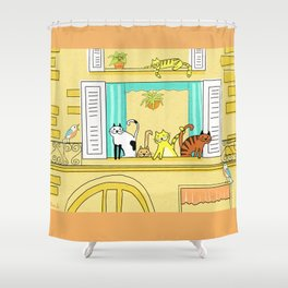 Kitty-Kat Chateau Shower Curtain