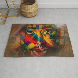 African American Oil Painting 26th Street Miami, Florida Mural 'Legends of Hip Hop' Rug
