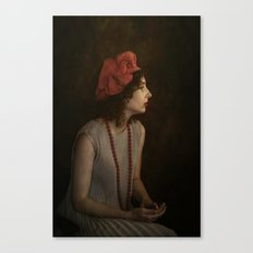 Girl with red necklace Canvas Print