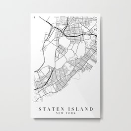 Staten Island New York Street Map Minimal Metal Print