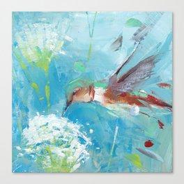 Hummingbird and White Flower Canvas Print