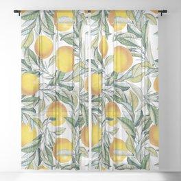 Lemon and Leaf Pattern VI Sheer Curtain