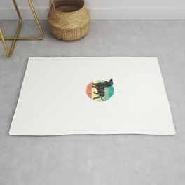 Cute Retro Dachshund Weiner Dog Mom Dog Dad Rug