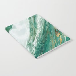 Emerald Jade Green Gold Accented Painted Marble Notebook