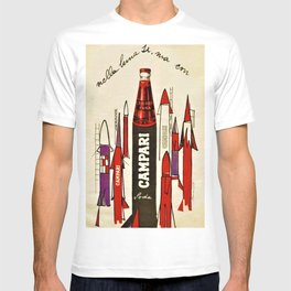 Rare Vintage Bitter Cordial Campari Rocket Advertising Poster T-shirt