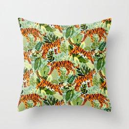 Bright Bengal Tiger Jungle Throw Pillow