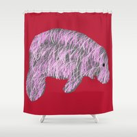 manatee Shower Curtains featuring Pink Manatee by Crayle Vanest