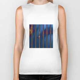 Electric Blue Abstract with Gold Stripes Biker Tank
