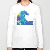 hokusai Long Sleeve T-shirts featuring Hokusai Rainbow_B by FACTORIE