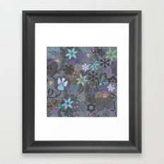 Colorful grey xmas pattern Framed Art Print