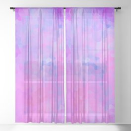 Pretty Pink and Purple Stained Glass Geometric Shape Modern Abstract Design Sheer Curtain