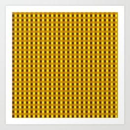 Retro Yellow Squares Art Print