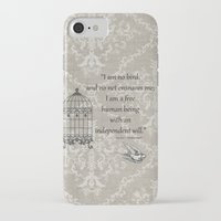 jane eyre iPhone & iPod Cases featuring Jane Eyre: I am no bird by AfterThisChapter