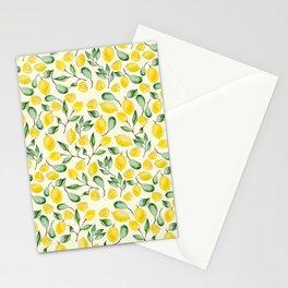 Watercolor Lemon Pattern Stationery Cards