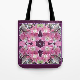 PINK SPRING LILY FLOWERS PURPLE GARDEN Tote Bag