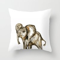 baby elephant Throw Pillows featuring Baby Elephant by James Peart