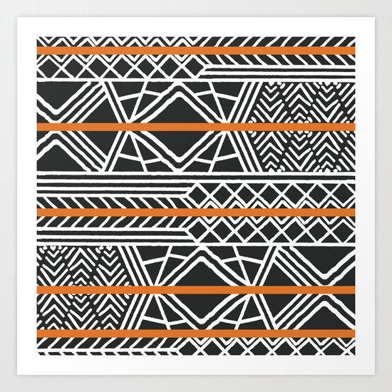Tribal ethnic geometric pattern 022 by bluelela