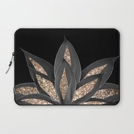 Gray Black Agave with Gold Glitter #1 #shiny #tropical #decor #art #society6 Laptop Sleeve