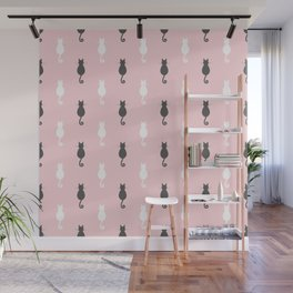 Cat Silhouettes - Pink Wall Mural