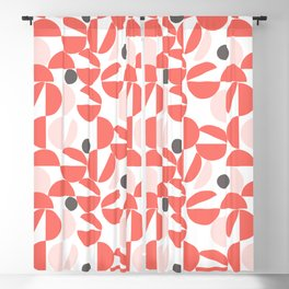 Living Coral Abstract Blackout Curtain