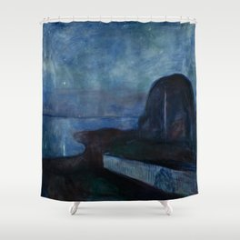 Starry Night by Edvard Munch Shower Curtain