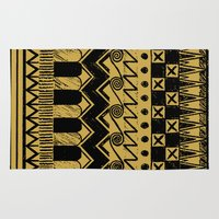 egypt Area & Throw Rugs featuring Aztec Egypt by DeMoose_Art