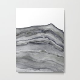 Watercolor Agate in Gray Metal Print
