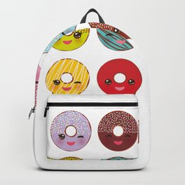 Kawaii colorful donut with pink cheeks and winking eyes, Sweet donuts set with icing and sprinkls Backpack