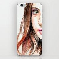 karen hallion iPhone & iPod Skins featuring Karen Gillian Drawing by annelise johnson