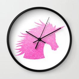 Pink Glitter Unicorn Wall Clock