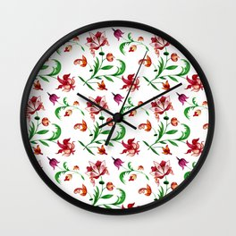 Light spring seamless floral pattern on white background Wall Clock