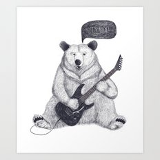 Let's rock bear Art Print