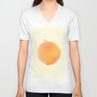 peach V-neck T-shirts featuring Peach by Jonah Grindler