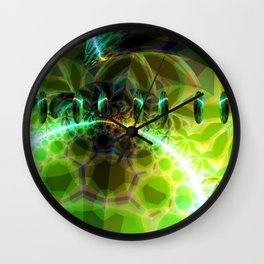 Dawn of Time – Abstract Lime & Gold Emerge Wall Clock