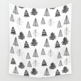 Trees Pattern Black and White Wall Tapestry