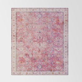 N45 - Pink Vintage Traditional Moroccan Boho & Farmhouse Style Artwork. Throw Blanket