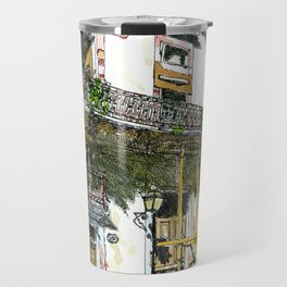 Man Sitting in Front of His House, Habana Vieja, Cuba Travel Mug