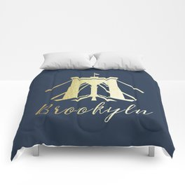 Brooklyn Bridge in Gold Comforters