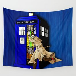 Blue tardis 02 Wall Tapestry
