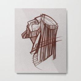 Jesus Christ Face / Charcoal Metal Print