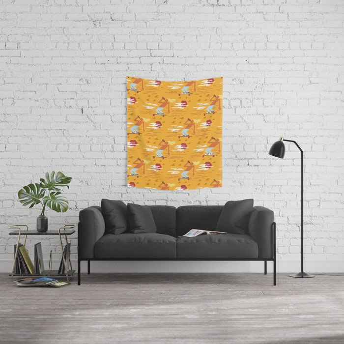 Skateboarders Holiday Pattern Wall Tapestry