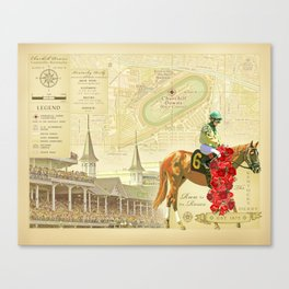 Artistic Kentucky Derby [vintage inspired] Map print Canvas Print
