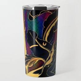 Blue Succulent Colorful Night, Black and Gold Rainbows Travel Mug