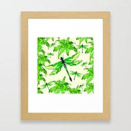 TROPICAL FERNS & EMERALD GREEN  SWAMP DRAGONFLIES Framed Art Print