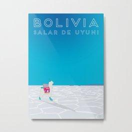 Bolivia Salt Flats Travel Poster Metal Print